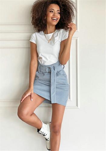 Стилна дамска къса пола с висока талия и колан