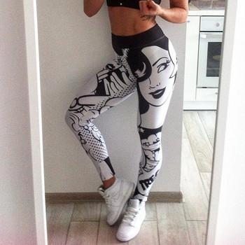 НОВ модел дамски спортен клин с висока талия и шарка
