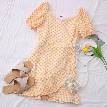 Нов модел дамска рокля с къс ръкав и шпиц деколте