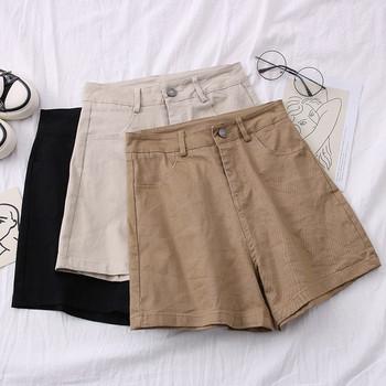Къси дамски панталони с висока талия и джобове