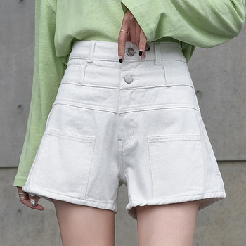 Къси дънкови панталони с висока талия и квадратни джобове