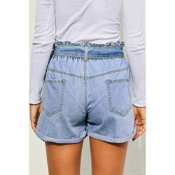 Модерни дамски къси дънкови панталони с висока талия и колан