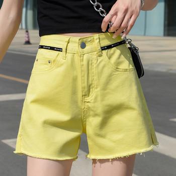 Жълти къси дънкови панталони с висока талия широк модел