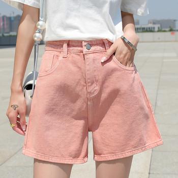 Къси дънкови дамски панталони широк модел с висока талия
