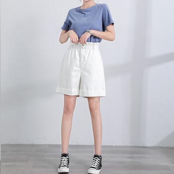 Къси дънкови дамски панталони в бял цвят с висока талия тип paper bag