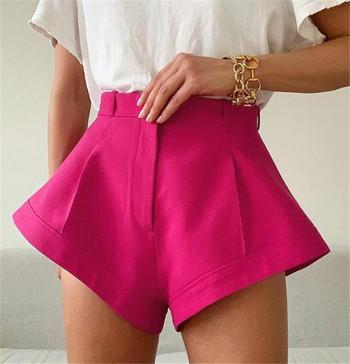 НОВ Модел дамски къси панталони с висока талия в цикламен цвят