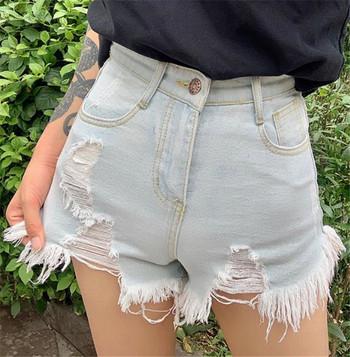 Къси ежедневни дамски дънки с висока талия и разкъсан десен