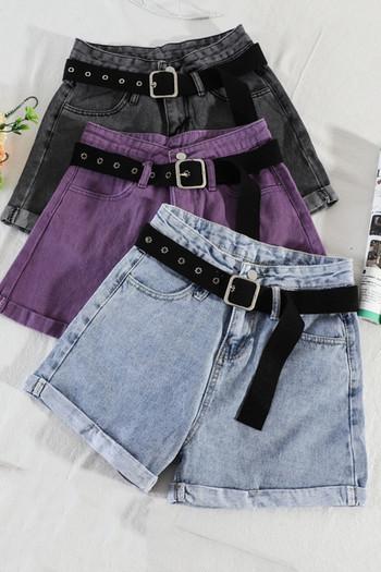 Дамски ежедневни къси дънки с колан и висока талия
