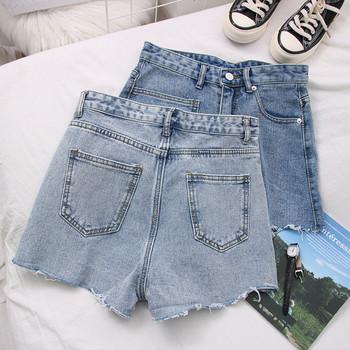 Нов модел дънкови дамски къси панталони с джоб