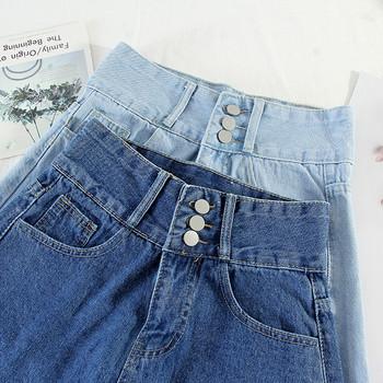 Дамски дънки с висока талия и копчета