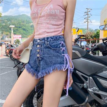 Нов модел дънкови къси панталони с ресни и връзки