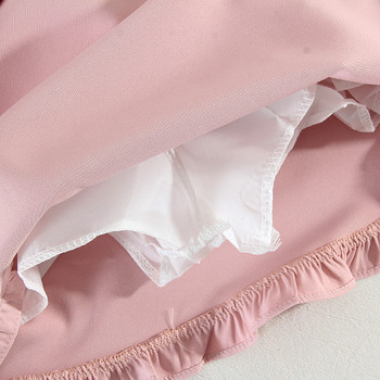 Дамска ежедневна къса пола с къдри и висока талия