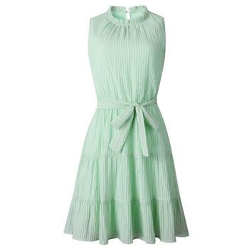 Дамска модерна рокля с панделка - разкроен модел