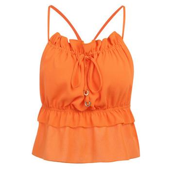 Ежедневен дамски потник с гол гръб и тънки презрамки в оранжев цвят