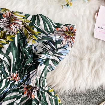 Ежедневен дамски гащеризон с ластична талия и флорален десен
