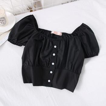Модерна дамска блуза с овално деколте и къс ръкав