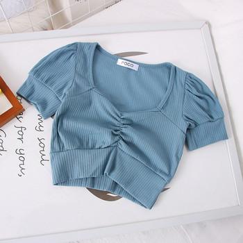 Ежедневна дамска блуза с дълбоко шпиц деколте