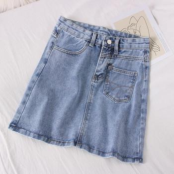Къса дънкова дамска пола в син цвят А-линия