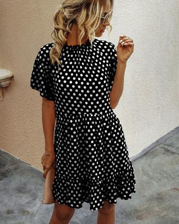 Ежедневна  дамска къса рокля с овално деколте и къс ръкав