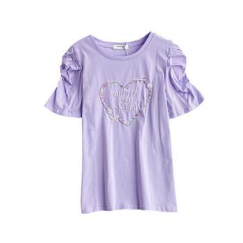 Дамска тениска с камъни и овално деколте