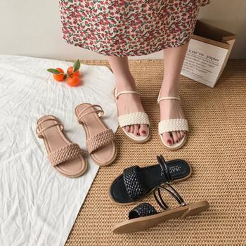 Ежедневни дамски сандали с равна подметка и еко кожа