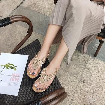 Дамски ежедневни сандали с камъни  и равна подметка