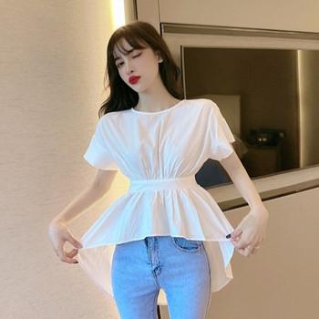 Дамска асиметрична блуза с гол гръб