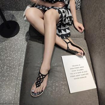 Ежедневни дамски сандали с ластик и камъни