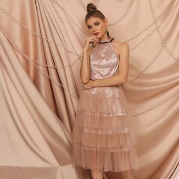 Елегантна дамска къса рокля с тюл и колан