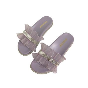 Ежедневни дамски чехли с камъни и тюл