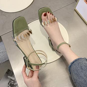 Модерни дамски сандали с дебел 5.5 см ток и каишка