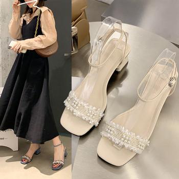 Дамски сандали с дебел 6см ток и перли