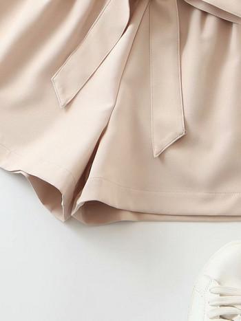 Къс дамски панталон с ластична талия и връзки