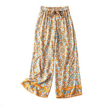 Дълъг широк панталон с ластична талия и шарен десен