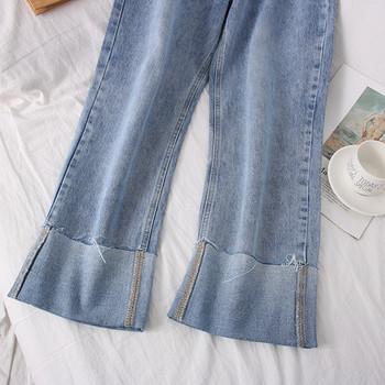 Нов модел дамски дънки с висока талия - широк модел