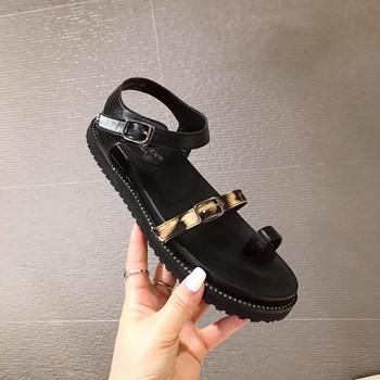 Дамски сандали с равна подметка и камъни в черен цвят