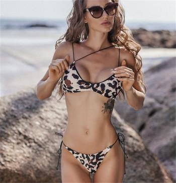 Бански костюм от две части с леопардов принт и тънки презрамки