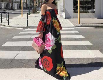 Ежедневна дамска дълга широка рокля с паднали ръкави и флорални мотиви подходяща за плаж