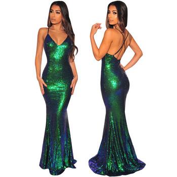 НОВ модел дамска дълга официална рокля с гол гръб и пайети в зелен цвят