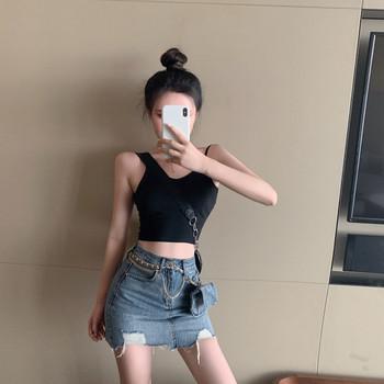 Дамска ежедневна къса дънкова пола с разкъсан десен и висока талия