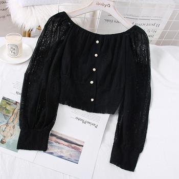Модерна дамска дантелена блуза с лодка деколте и копчета