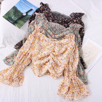 Модерна дамска блуза с лодка деколте и лотос ръкави