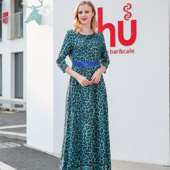 Модерна дамска дълга рокля с 3/4 ръкав и животински десен