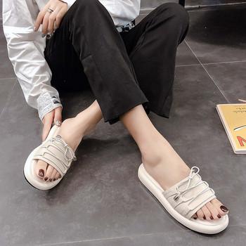 Ежедневни дамски чехли с равна подметка и връзки от еко кожа