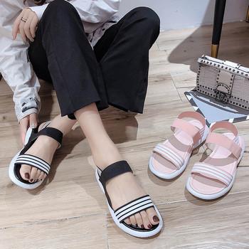 Дамски ежедневни сандали с ластик и равна подметка