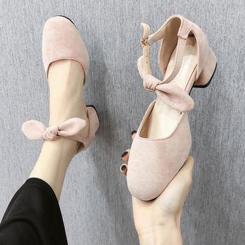 Дамски ежедневни обувки от  еко велур с панделка