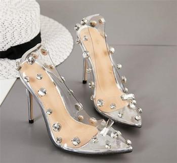 НОВ модел дамски обувки на висок ток с камъни и силикон