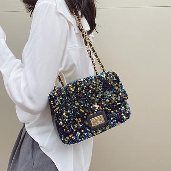 Модерна дамска чанта с пайети и дълга дръжка