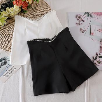 Модерни дамски къси панталони с камъни и перли