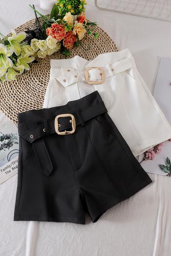 Модерни дамски къси  панталони с висока талия и колан